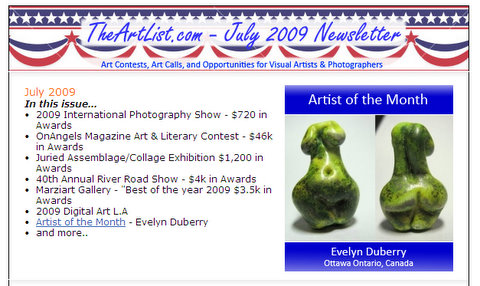 TheArtlist.com July 2009 newsletter